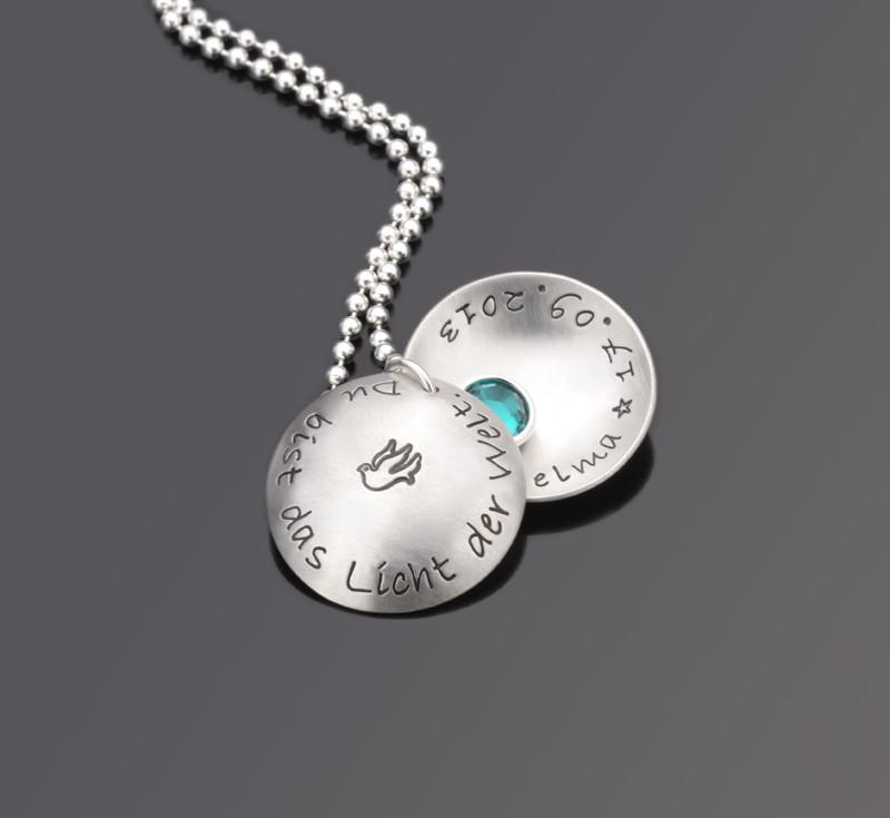LICHT DER WELT 925 Silber Taufkette mit Wunschtext