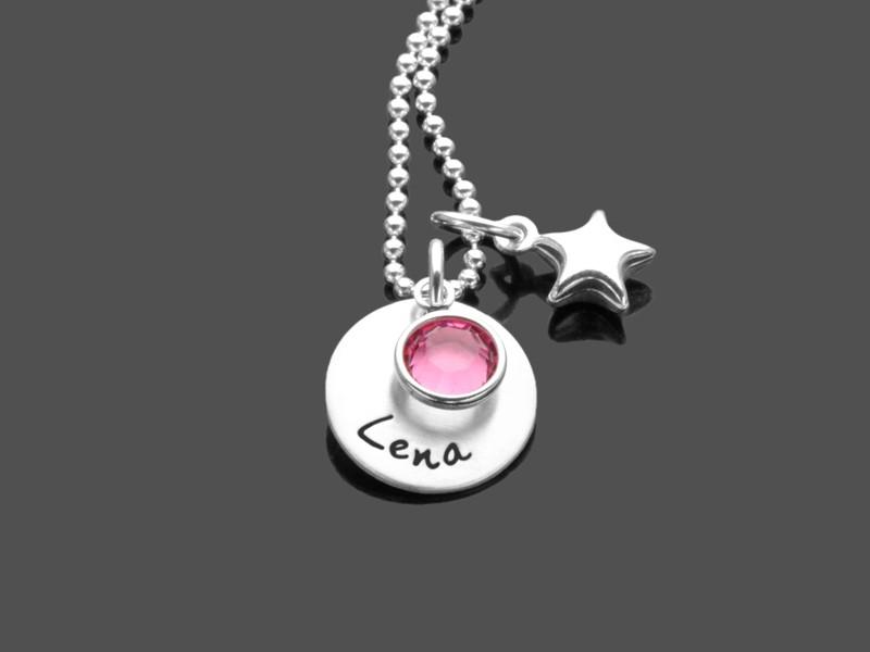 Namenskette COLORED STAR 925 Silber Kette mit Gravur Namensschmuck