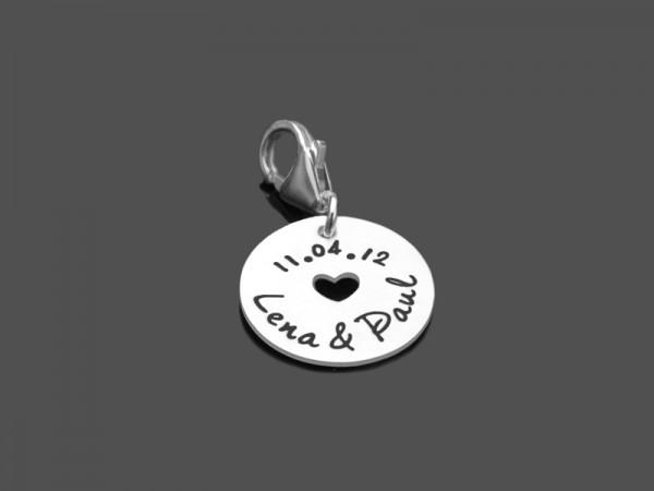 Anhänger WEDDING DATE 925 Silber Charm Hochzeit Brautschmuck