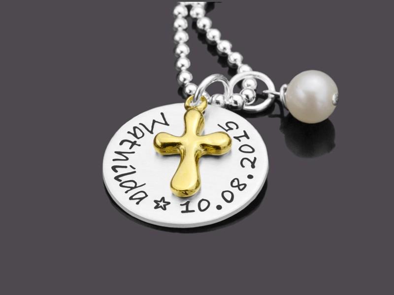 Taufschmuck mit Gravur BAPTIZED GOLD 925 Silber Taufkette mit Gravur