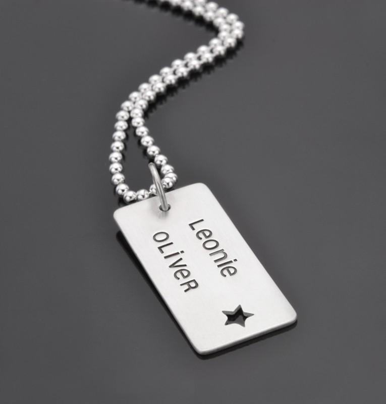 Herrrenkette DOG TAG STAR Männerkette mit Gravur
