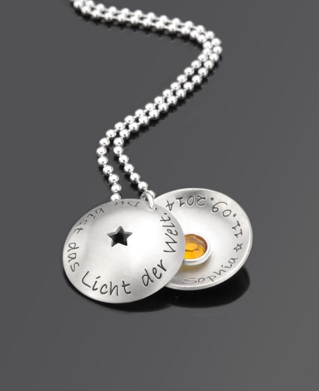 STERNCHEN MAXI 925 Silber Taufkette Du bist das Licht der Welt Name Datum