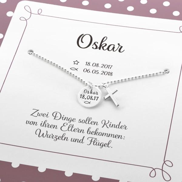Taufschmuck MEINE TAUFE KREUZ 925 Silberkette mit Geschenkbox