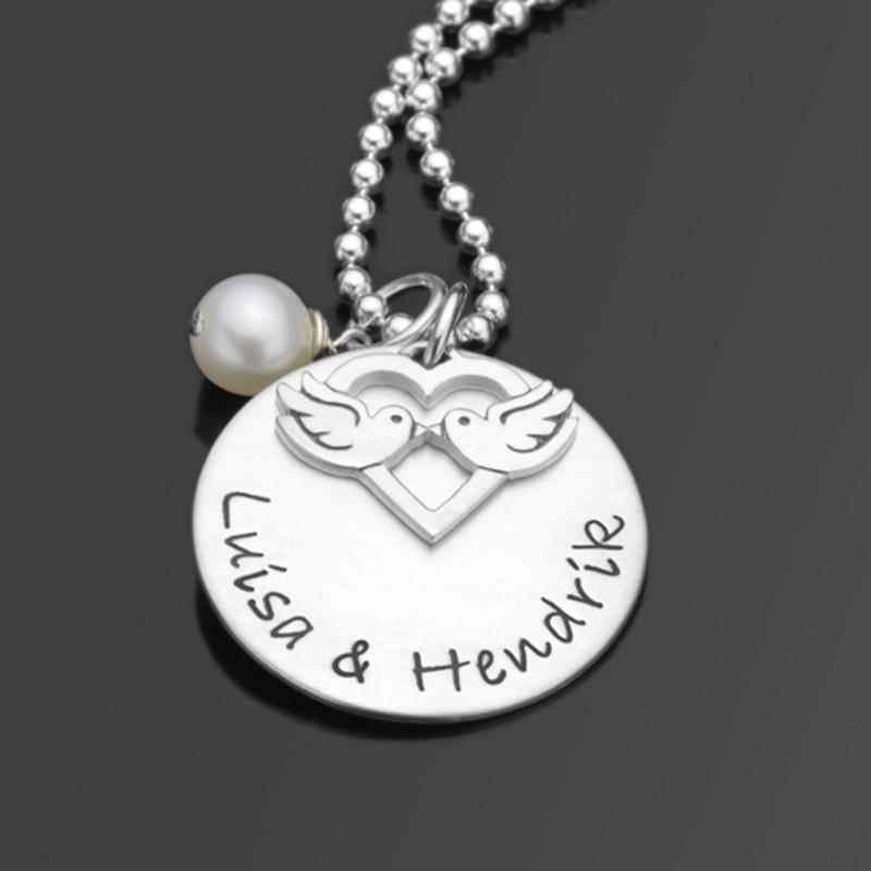 Silberkette mit Namensgravur, Namen des Paares