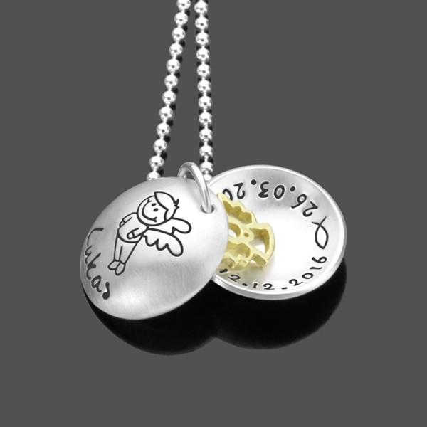 Taufkette für Jungen mit Engel und Gravur aus Silber