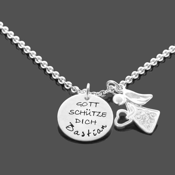 Taufkette-Junge-Engel-925-Silberkette-mit-Gravur