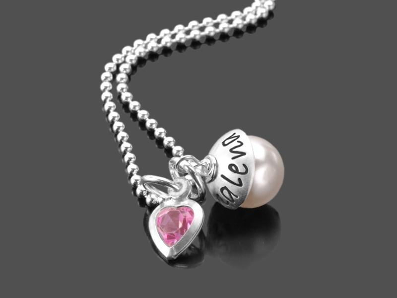Namenskette LYHO ROSAHERZ 925 Silberkette mit Gravur