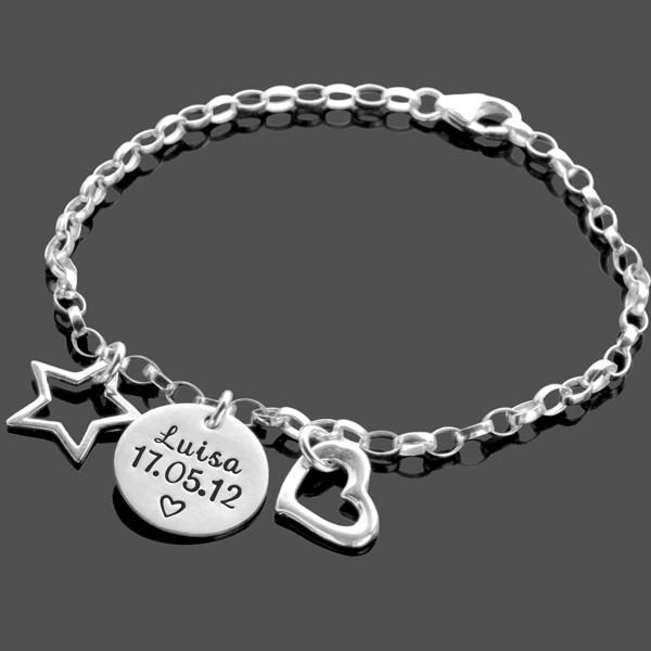 HERZ & STERN 925 Silber Kinderarmband Kinderschmuck mit Gravur