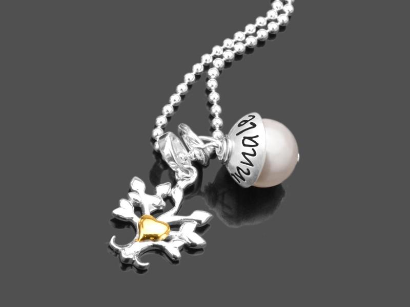 Namenskette LYHO HERZBÄUMCHEN 925 Silberkette Wunschgravur
