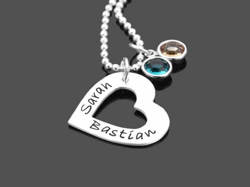 Silberkette mit Anhänger Herz, Namenskette mit Gravur