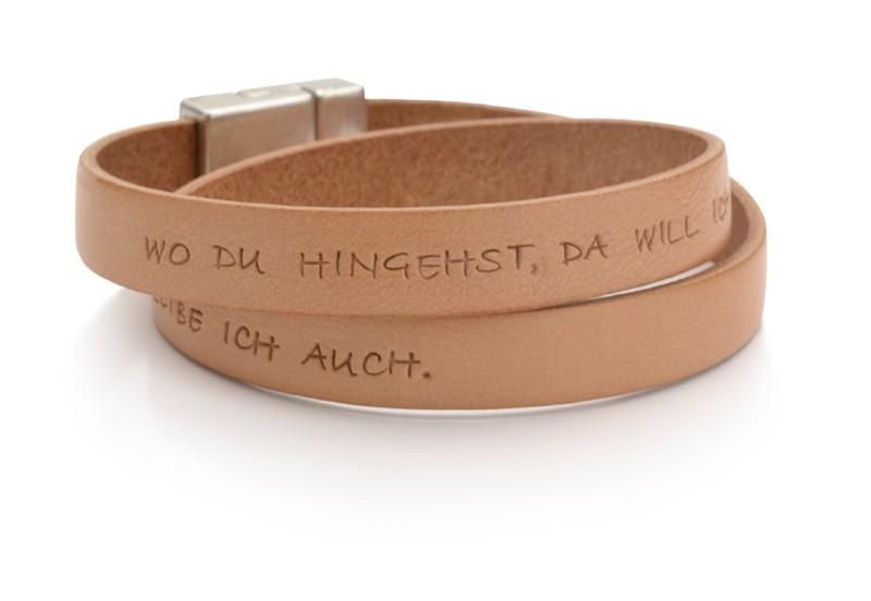 Armband für Herren aus Leder mit Text, personalisiert