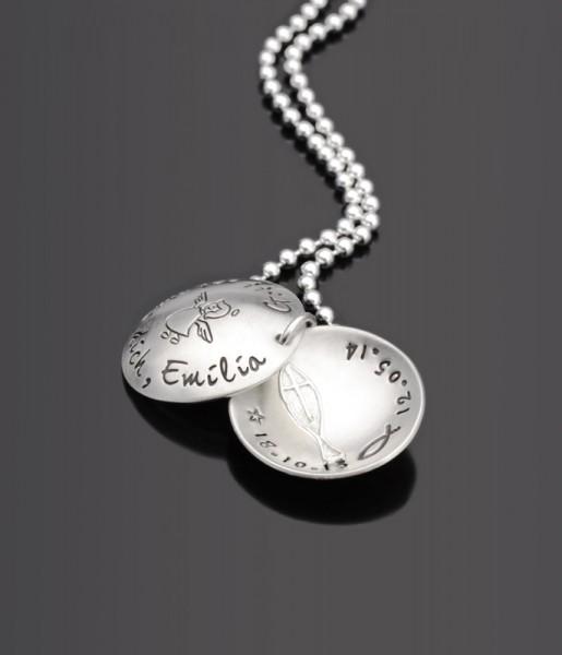 CHURCHED 925 Silberkette zur Taufe mit Gravur Name Taufdatum Geburtsdatum