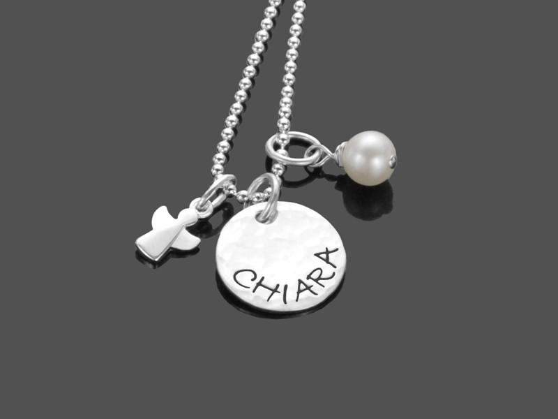 Taufkette Engel ERLEUCHTET 925 Silber Taufschmuck mit Gravur