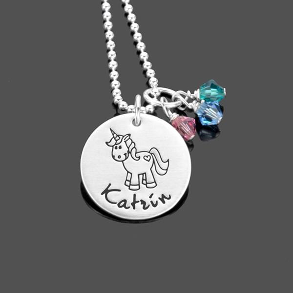 Silberkette für Mädchen mit Einhorn und Gravur