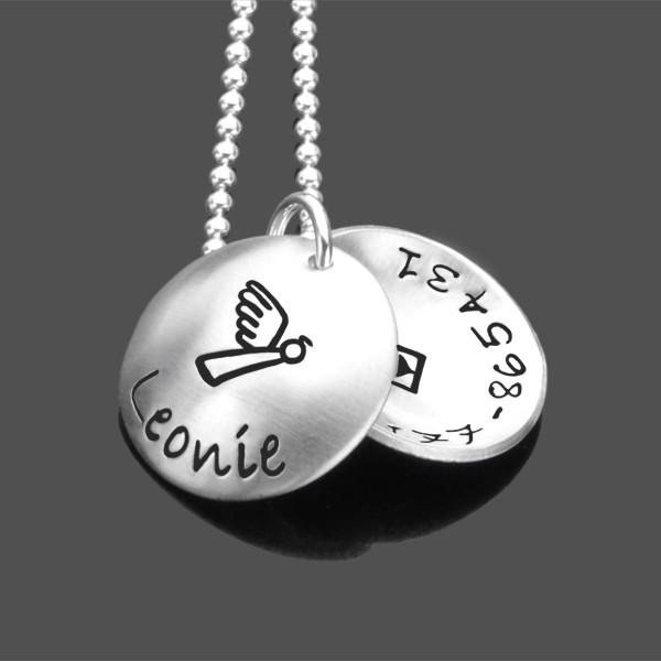 SOS Kinderkette 925 Silberkette Notfallkette Telefonnummer