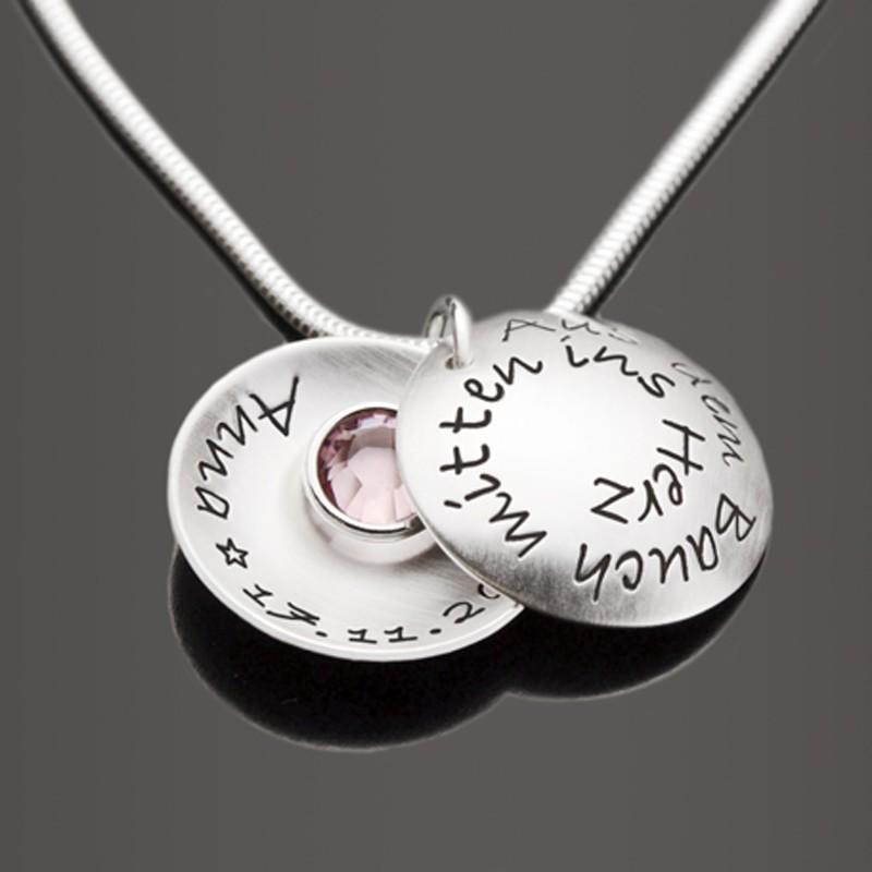 Silberkette mit Spruch und Namensgravur für Mütter
