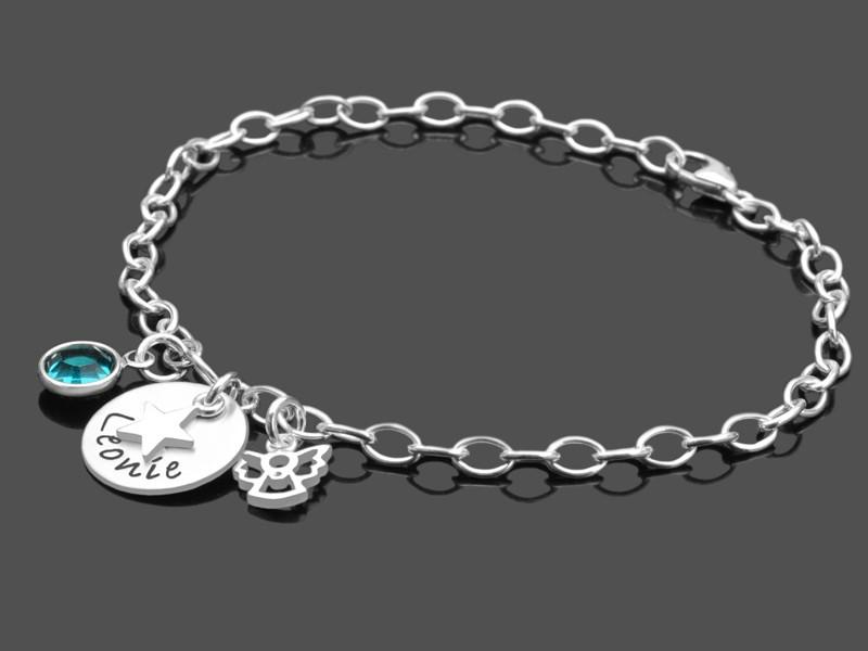 Kinderarmband KLEINER STERN 925 Silberarmband mit Engel Taufe Gravur