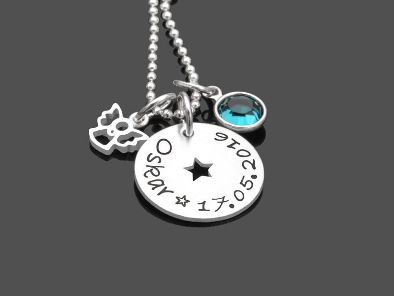 Taufkette für Jungen mit Gravur STERNCHEN ENGEL 925 Silber Namenskette Taufe
