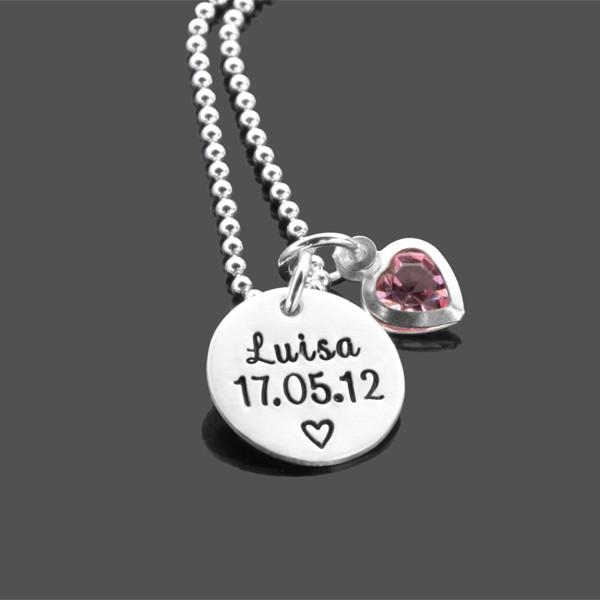 Namenskette für Mädchen mit Gravur, Silber mit Herz