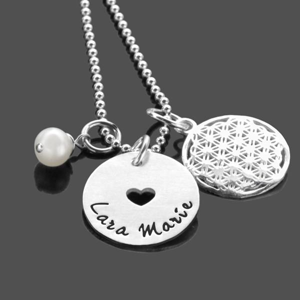 Namenskette WIR BEIDE Blume des Lebens 925 Silber Kette mit Gravur