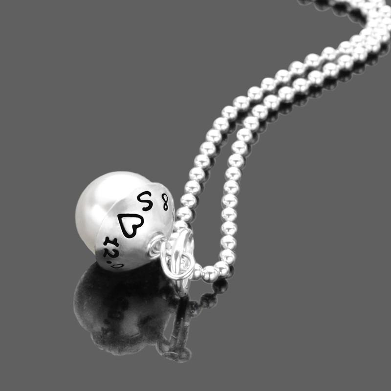 Kette mit Gravur, Namenskette mit Perle aus Silber
