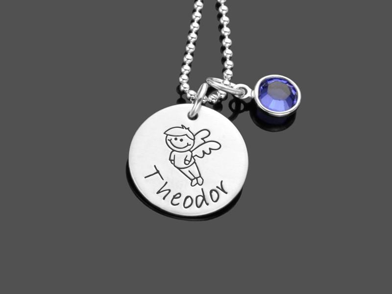 Kinderkette SCHUTZENGELCHEN 2.0 Junge Engel 925 Silberkette Gravur