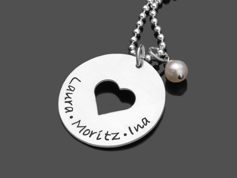 Silberkette IN MY HEART 2.0 Namenskette 925 Silber Gravurschmuck