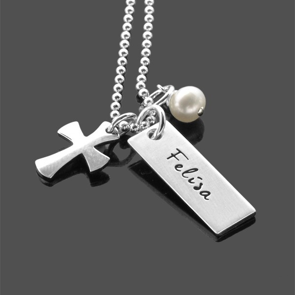 Kommunion Konfirmation Kette RELIGIOUS Namenskette mit Kreuz