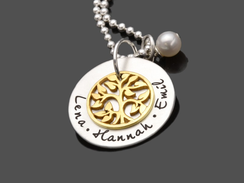Namenskette FAMILY TREE GOLD 925 Silberschmuck Gravur Namen