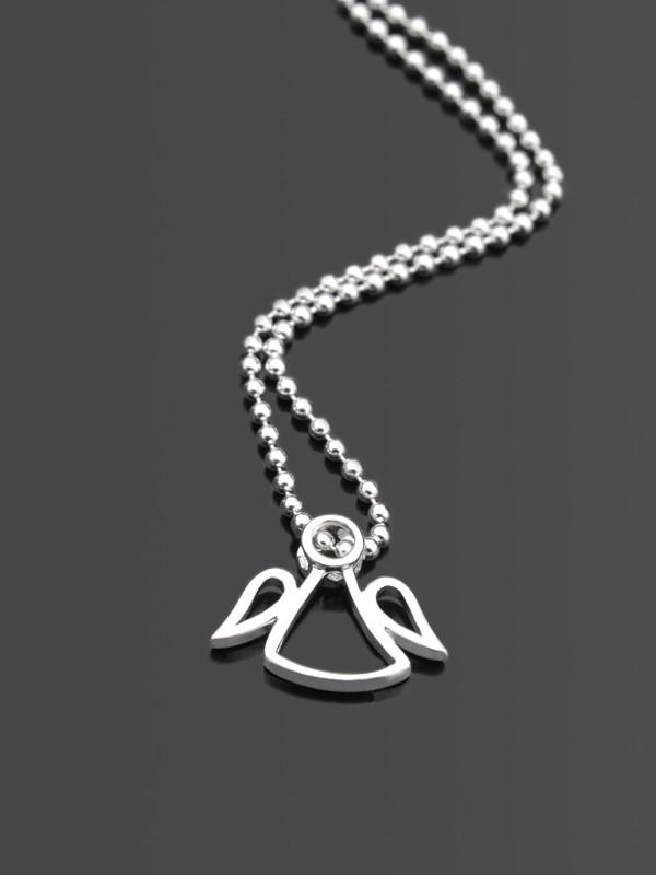 PLAIN ANGEL 925 Silberkette mit Schutzengel, Anhänger Engel