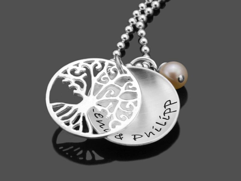 TREE OF LOVE SMALL 925 Silber Kette Namenskette mit Gravur