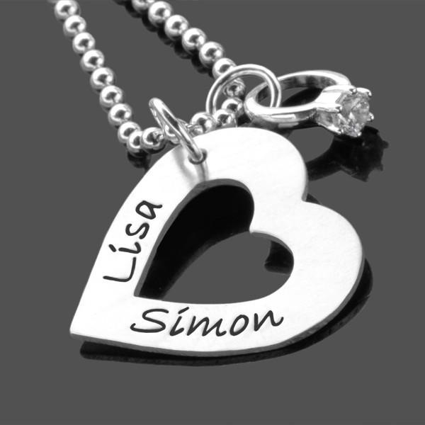 Kette mit Gravur I HEART YOU 925 Namenskette