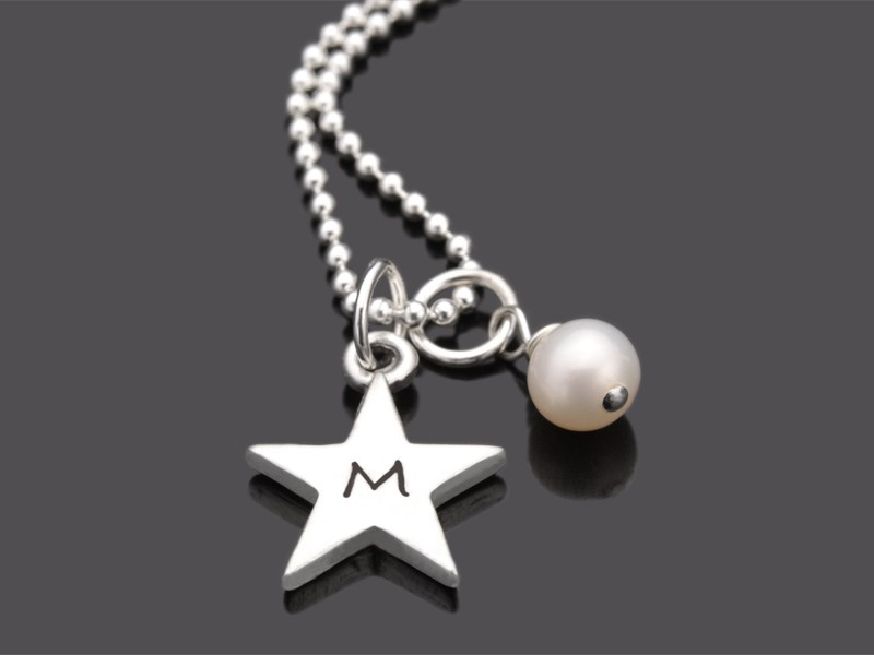 INITIAL STAR PERLE 925 Silber Stern Sternenkette mit Gravur Initialen