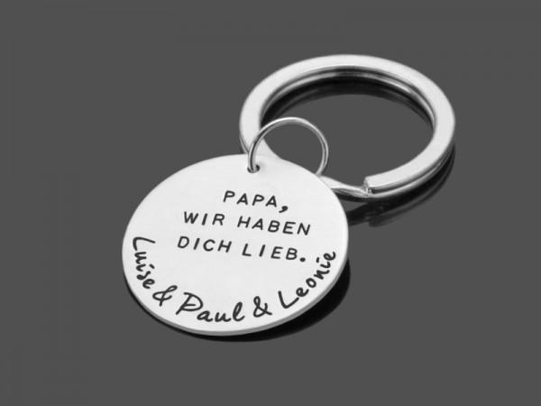BESTER PAPA 925 Schlüsselanhänger mit Namensgravur Silberschmuck
