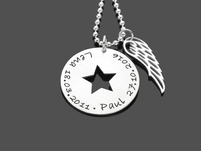 Namenskette MY STARS WINGED 925 Silber Kette mit Wunschgravur