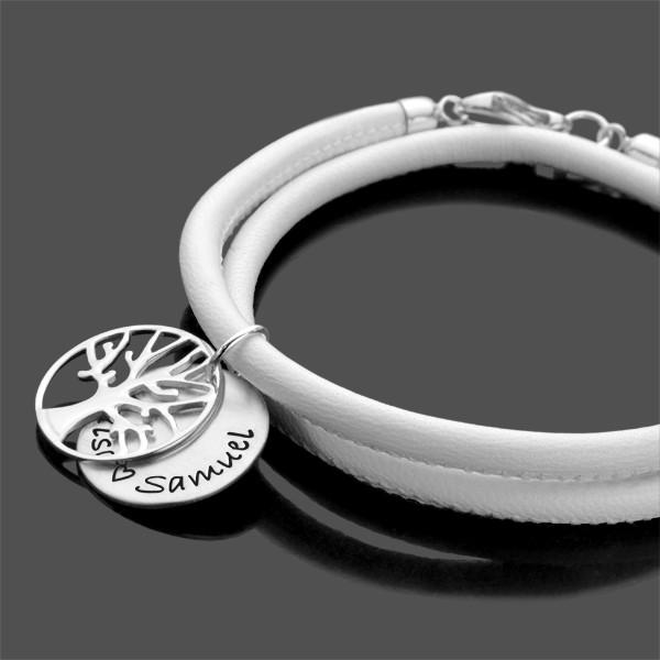 Armband mit Namen und Lebensbaum, Lederarmband