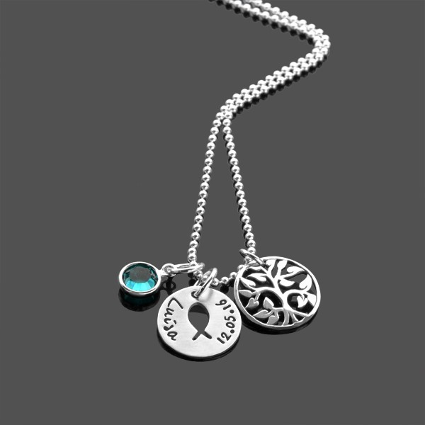 Taufkette KUMBAYA LEBENSBAUM 925 Silberkette mit Namensgravur Taufschmuck