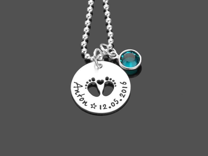 Geschenk zur Geburt ERSTE SCHRITTE 925 Silber Namenskette mit Gravur
