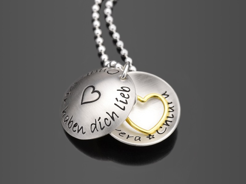 WIR HABEN DICH LIEB 925 Silber Familienkette Geschenk Oma Gravur