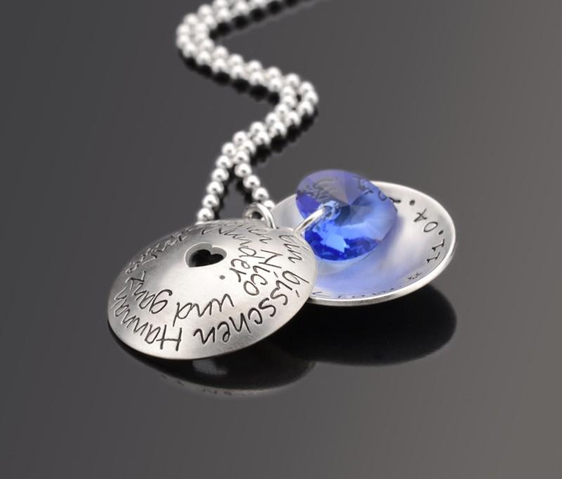 WUNDER BLUE 925 Silber Namenskette mit Gravur Wunschtext