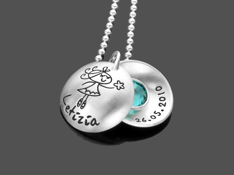 Namenskette ZAUBERWALD 925 Silber Kinderkette mit Gravur Kinderschmuck
