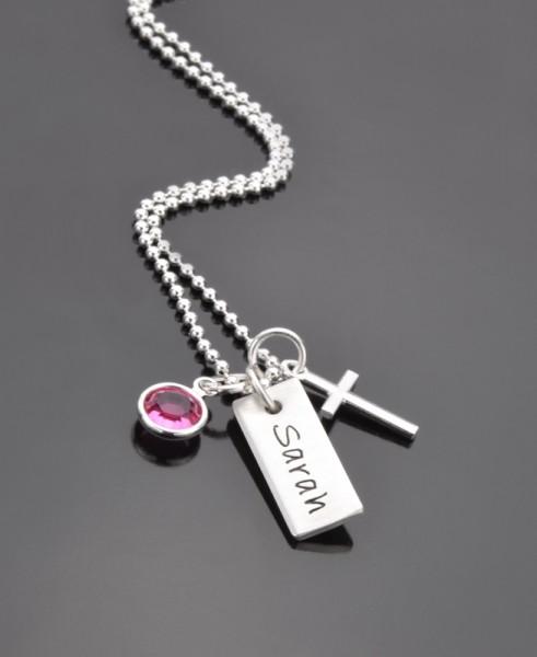 OH LORD 925 Silber Namenskette zur Konfirmation/Kommunion Kreuz Kristall