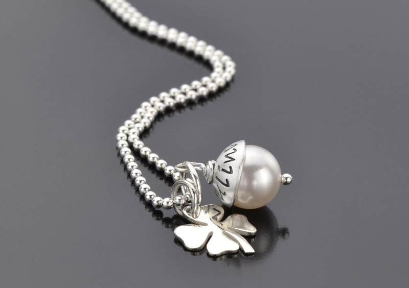 LYHO OH HAPPY DAY 925 Silberkette Namenschmuck mit Gravur und Kleeblatt