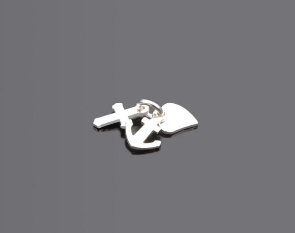 GLAUBE LIEBE HOFFNUNG 925 Silbermedaillon Taufschmuck mit Gravur und Engelchen