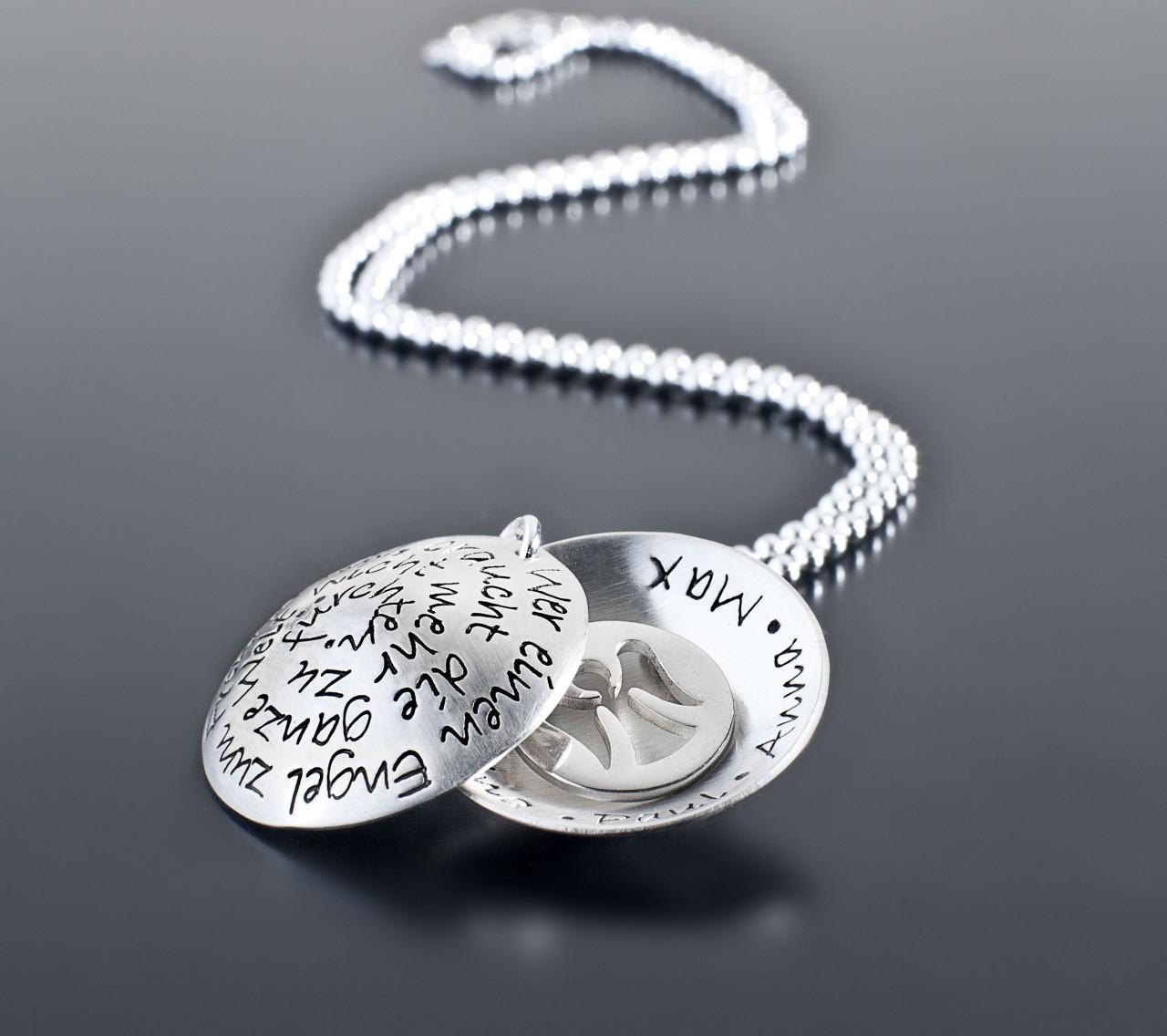 EINEN ENGEL ZUM FREUND 925 Silber Medaillon, Kette mit Wunschtext