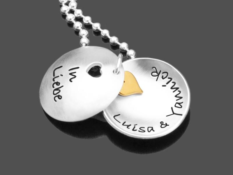 Partnerschmuck IN LIEBE HERZ 925 Silberkette Gravurschmuck Namen
