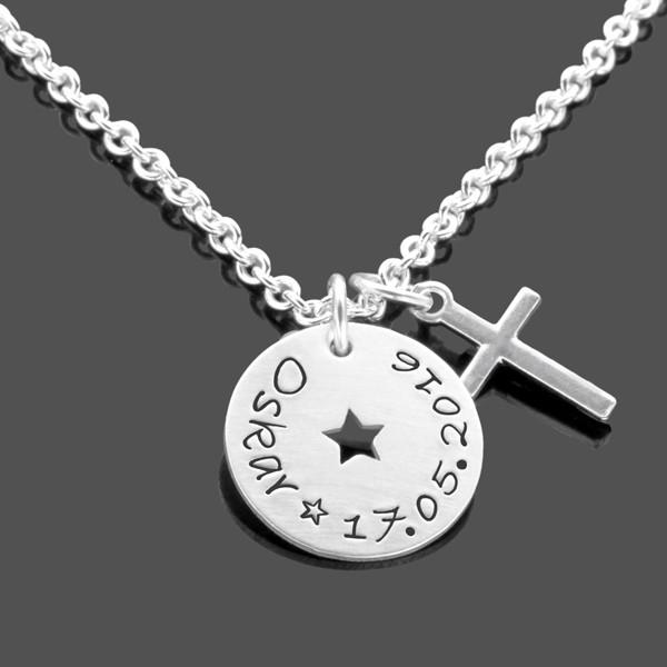 Taufkette für Jungen aus Silber mit Kreuz