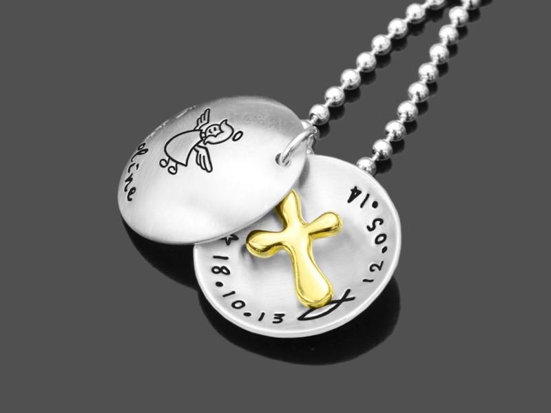 BAPTIZED GOLD 925 Silberschmuck Gravurschmuck zur Taufe Taufgeschenk