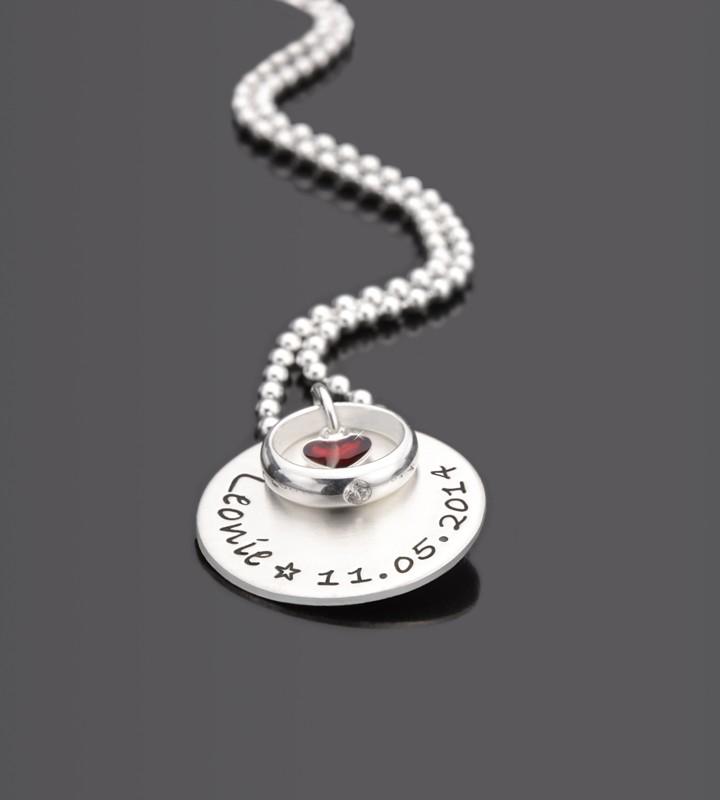 Taufkette mit Gravur GESEGNET ROTHERZ 925 Silber