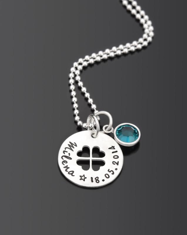 HAPPY GO LUCKY 925 Silber Taufkette mit Namensgravur, Kinderschmuck